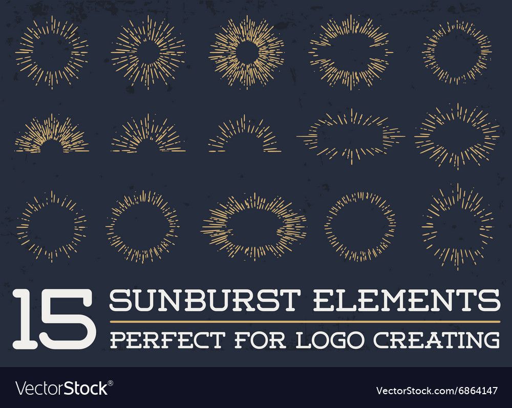 Sun burst vintage shapes collection set of sun ray