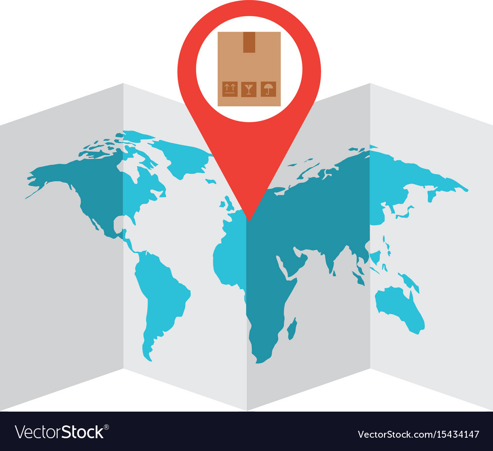 World Map With Pin Location Box Royalty Free Vector Image