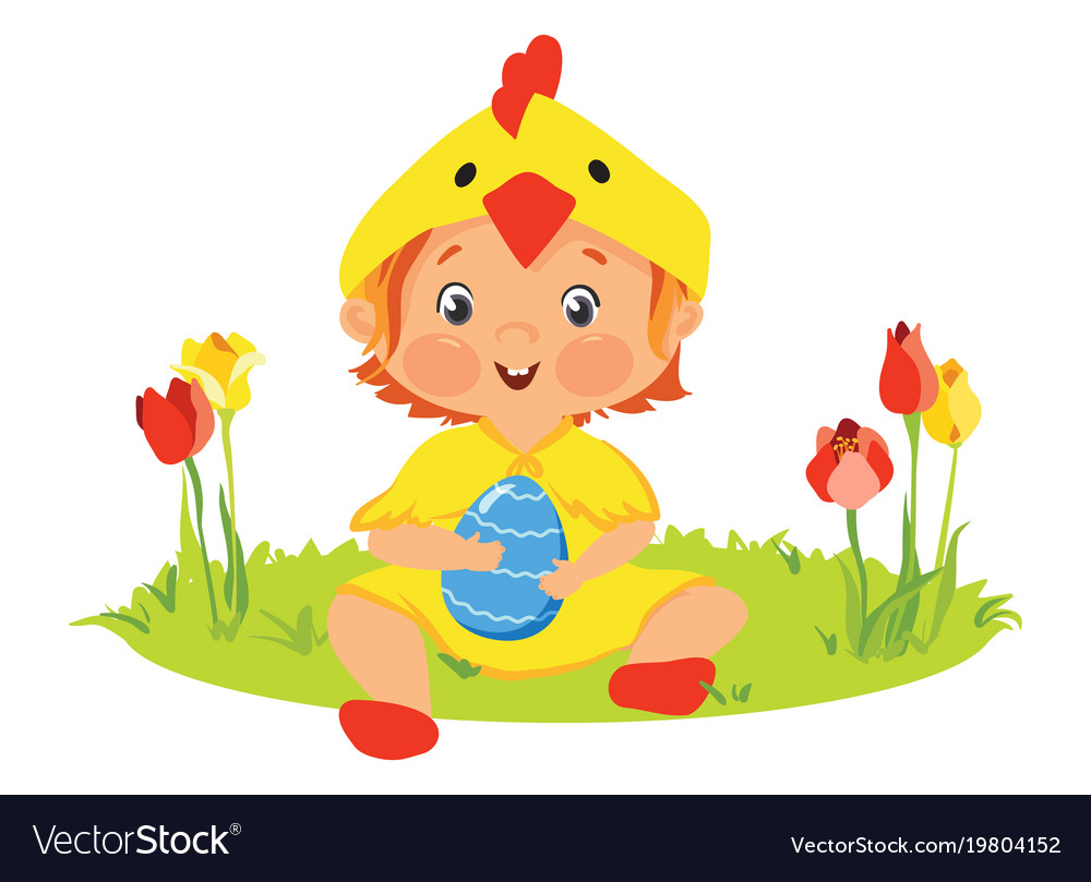 Baby in chick costume with decorative egg vector image
