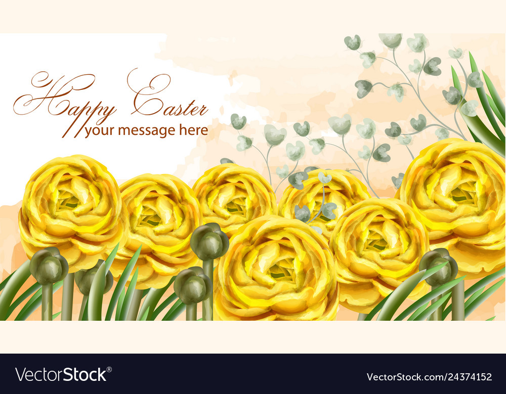 Happy easter card yellow flowers watercolor