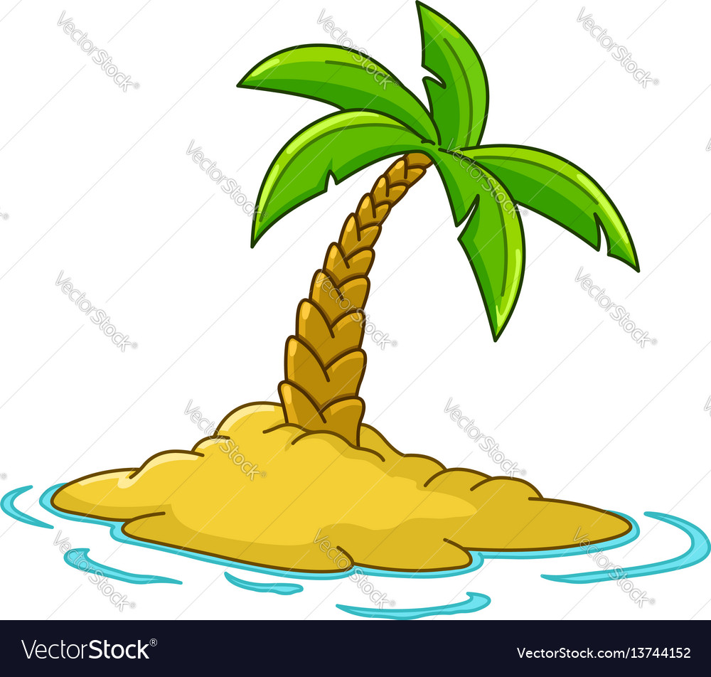 Island with palm tree vector image