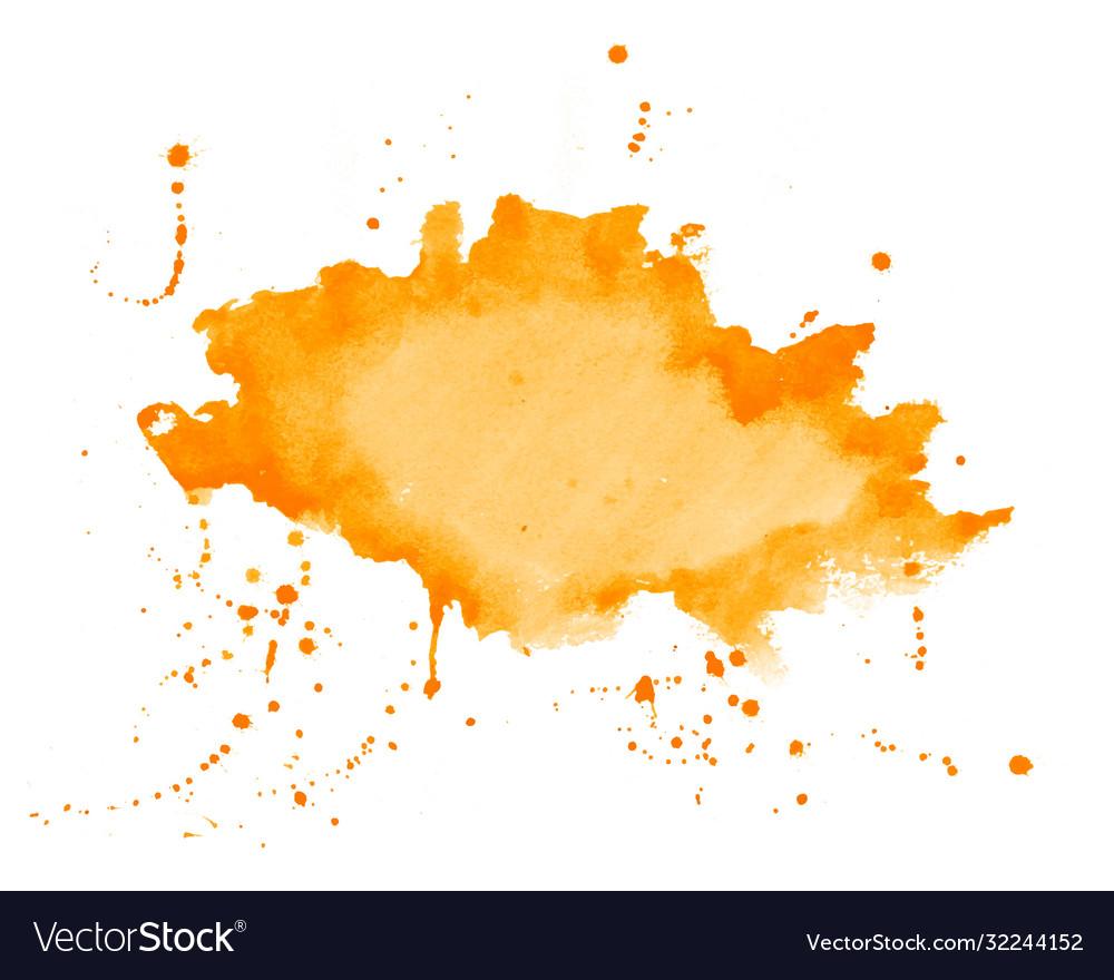 Orange watercolor splatter stain texture