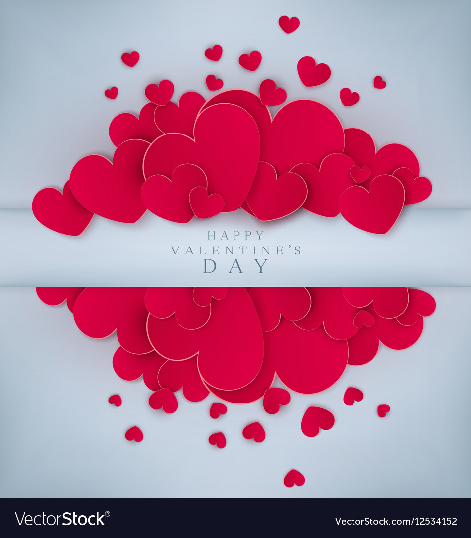 Red hearts on a gray background vector image