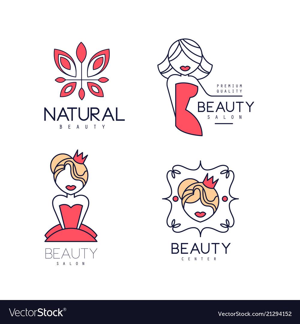 Set of geometric emblems for women club