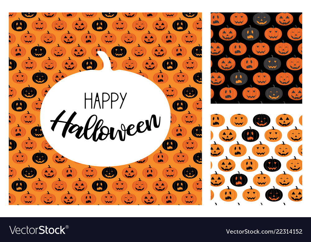 Set of halloween scary pumpkins pattern set for