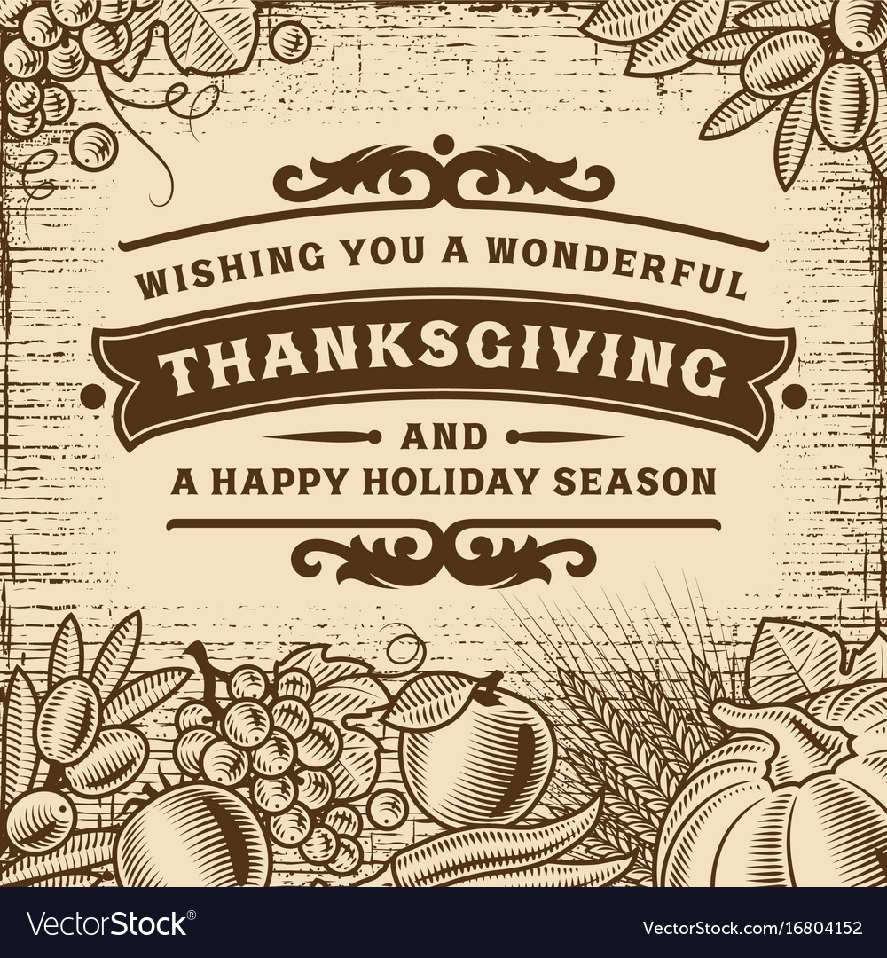 Thanksgiving vintage brown card vector image