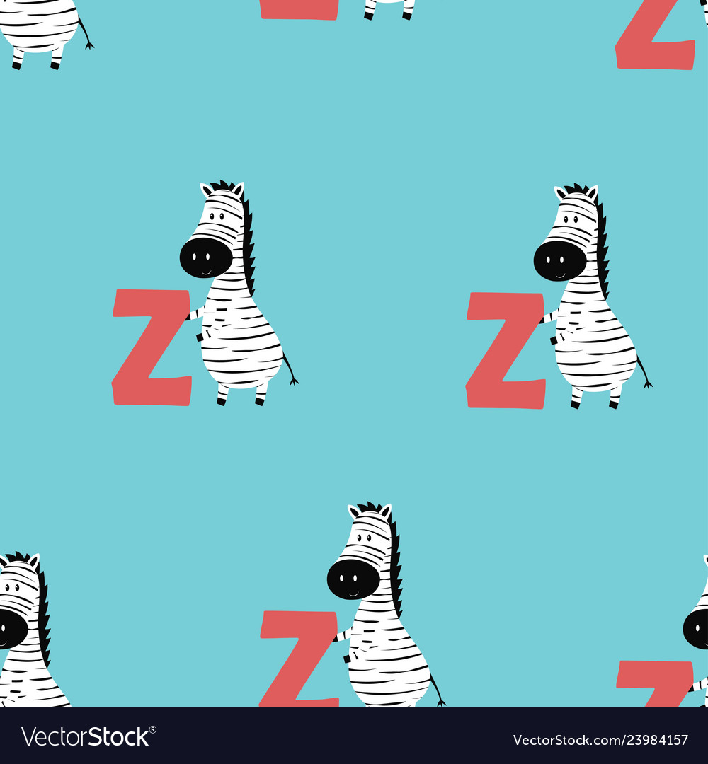 Animal alphabet pattern with zebra