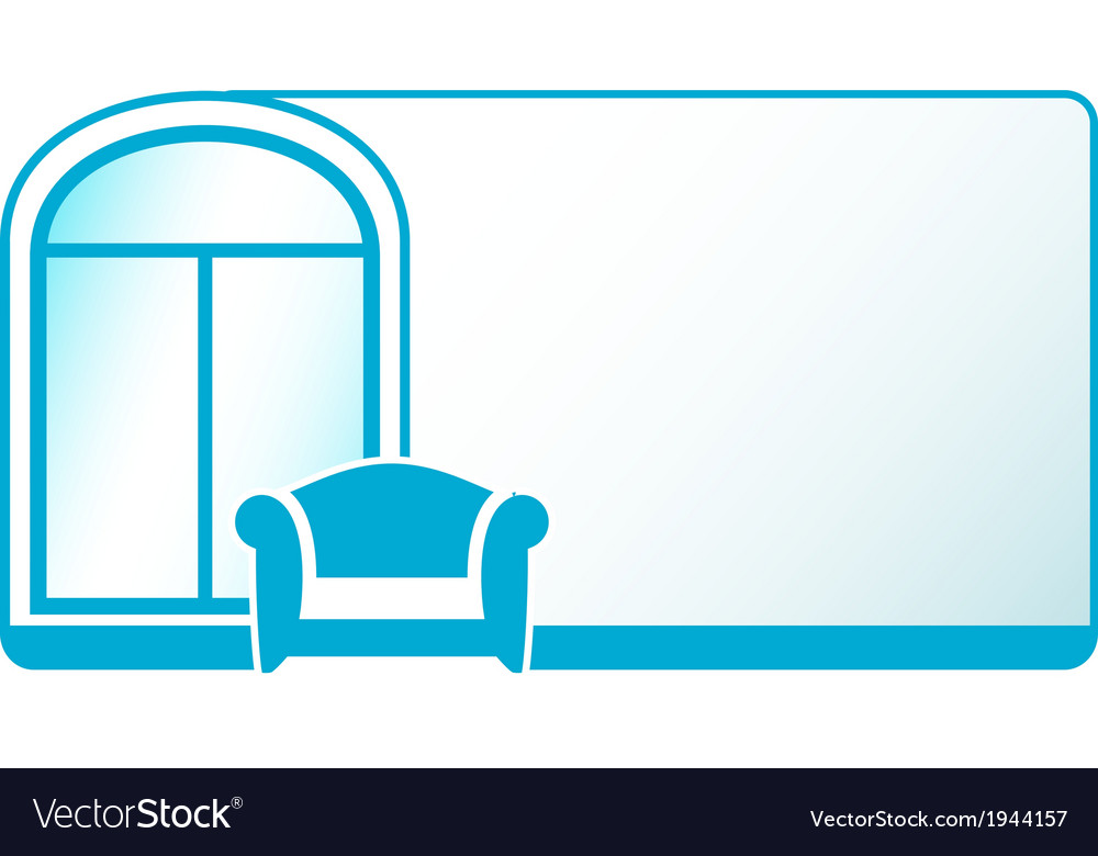 Armchair and glossy window on blue background