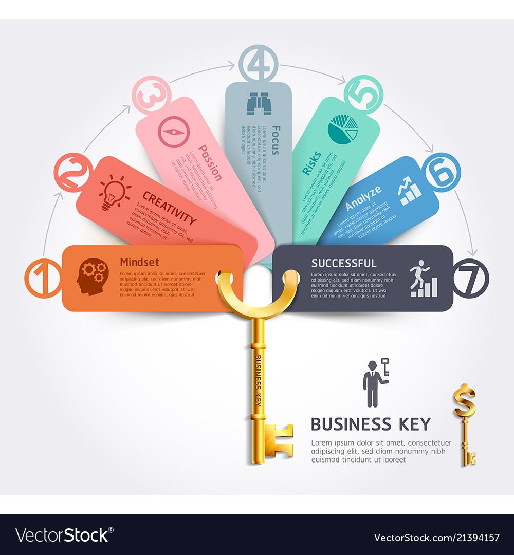 Business key concept infographics design template