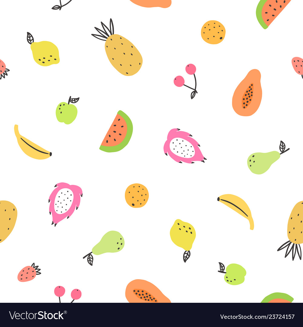Cute bright fruits
