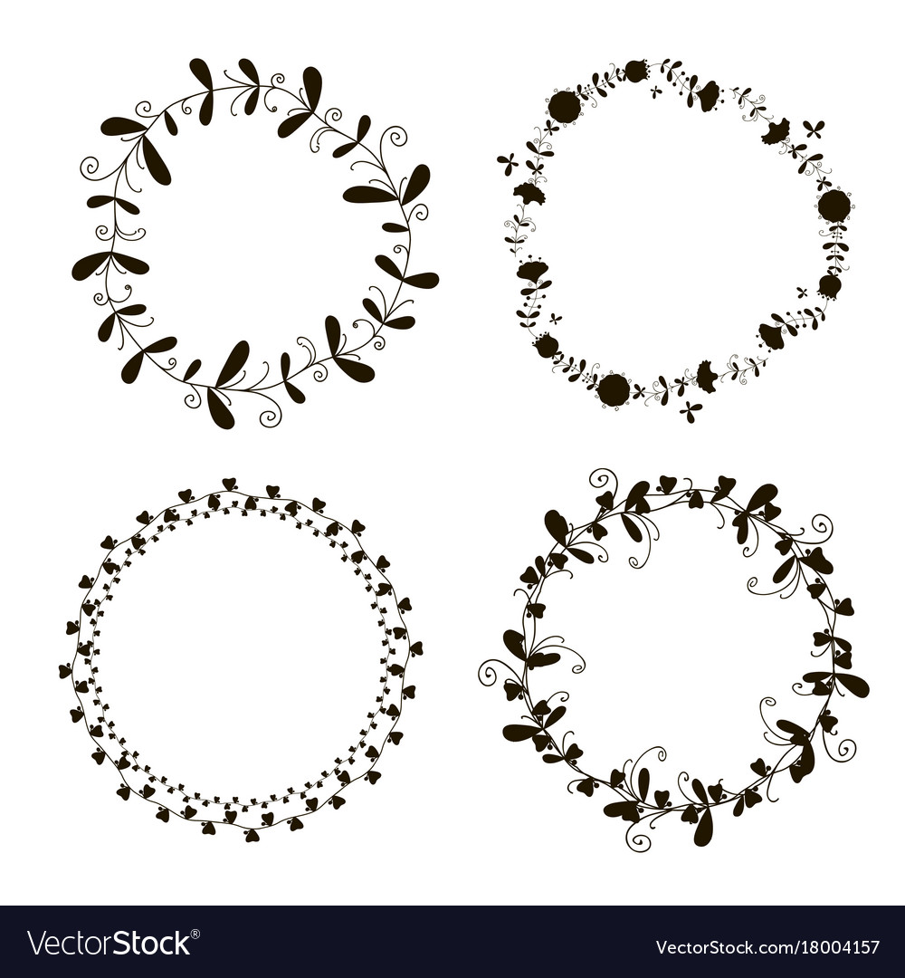 Doodle wreath black and white vector image