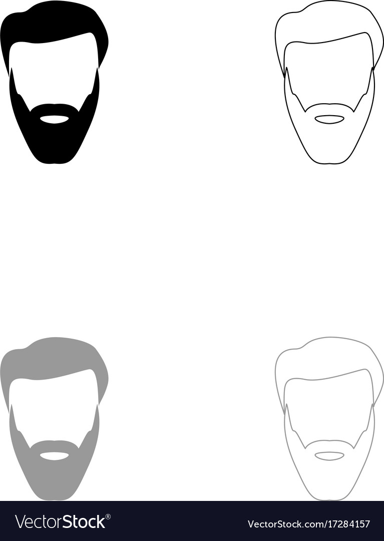 Head with beard and hair black and grey set icon vector image