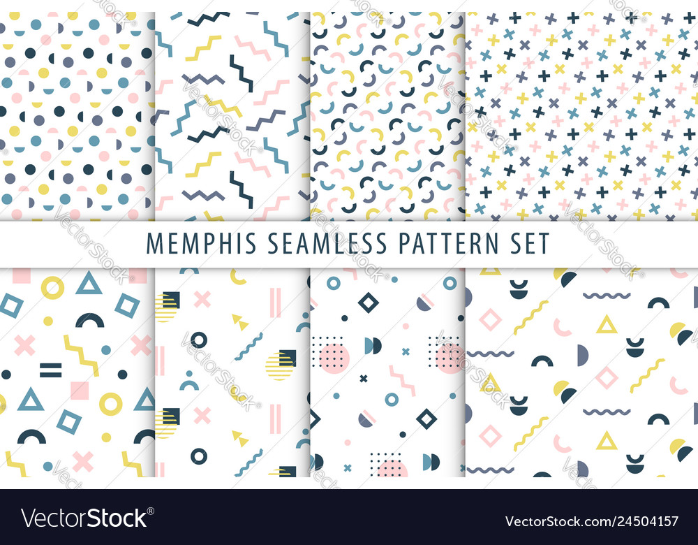 Memphis seamless patterns set collection