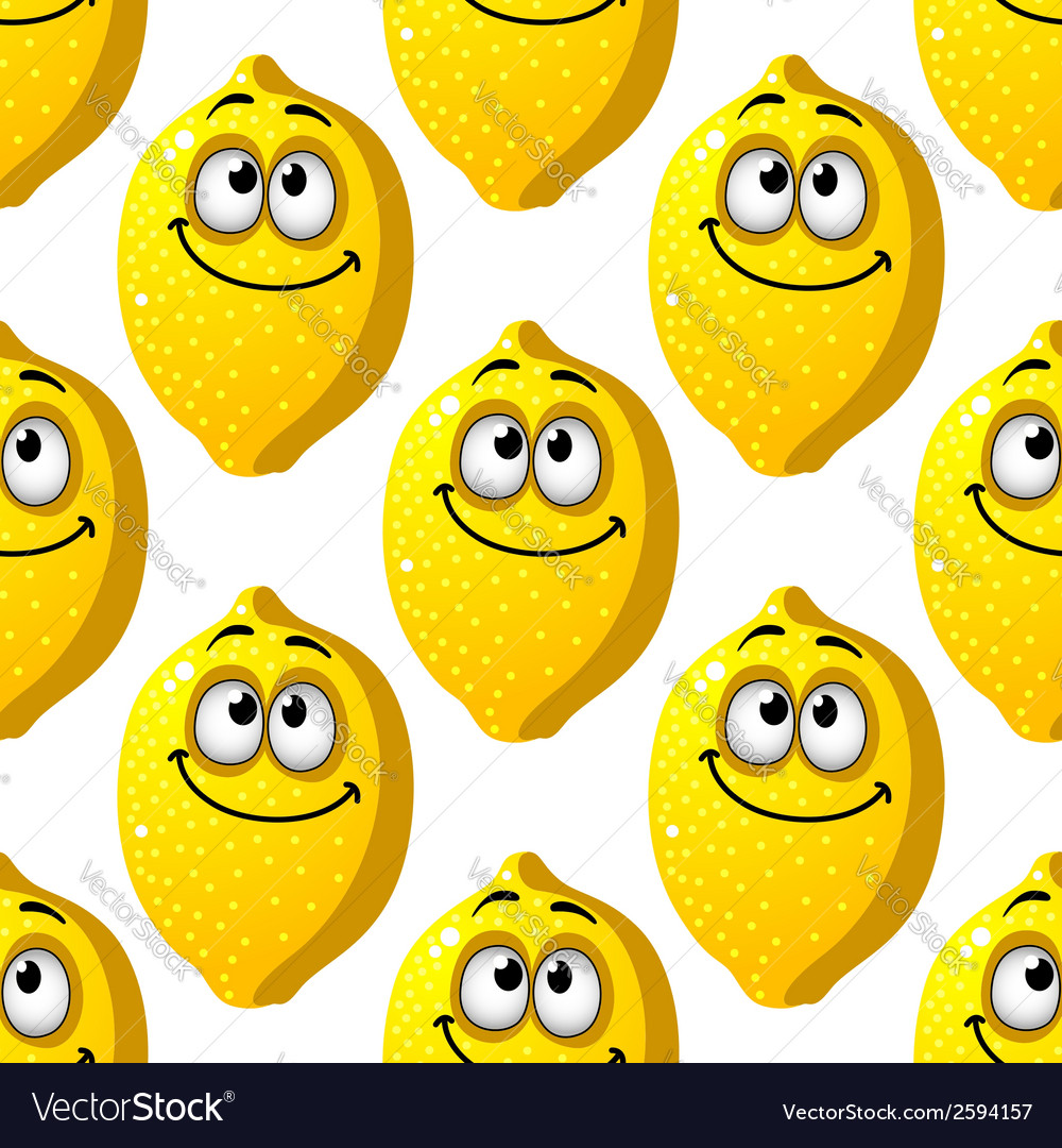 Seamless pattern of smiling yellow lemons vector image