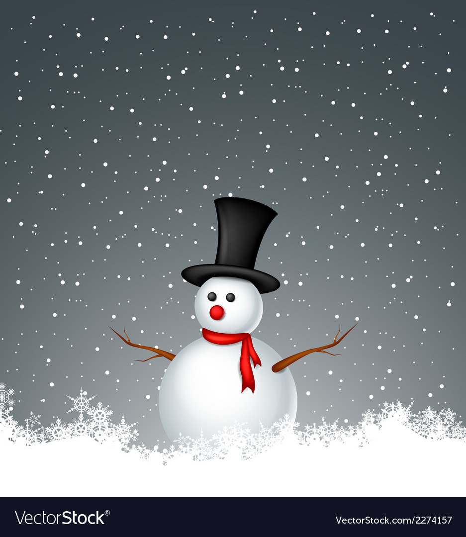 Snowman with snow background