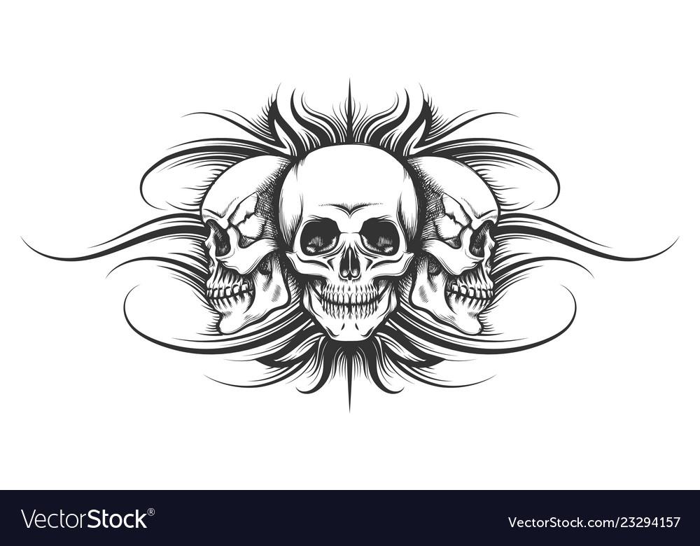 Three skulls tattoo Royalty Free Vector Image - VectorStock