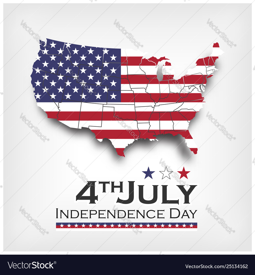 America map and flag independence day usa 4th