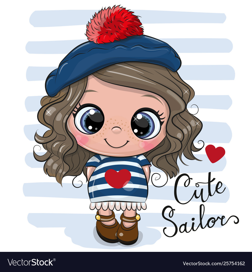 Bacartoon girl in sailor costume