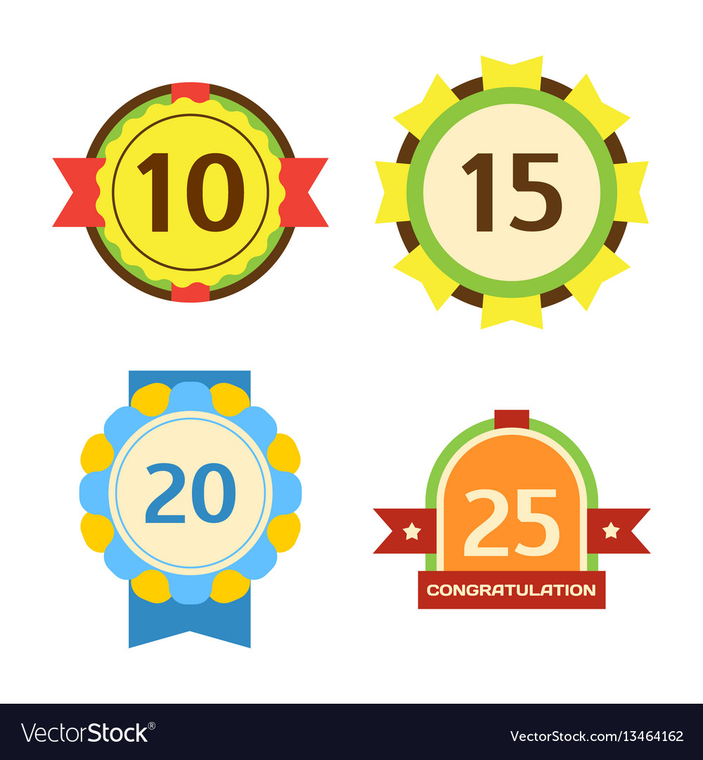 Birthday badge banner design flat set celebration