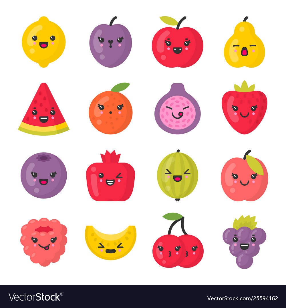 Cute smiling fruits isolated colorful icon