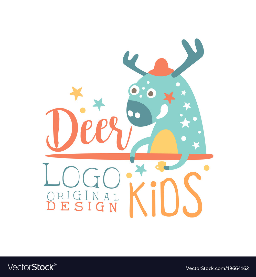 Deer kids logo original design baby shop label vector image