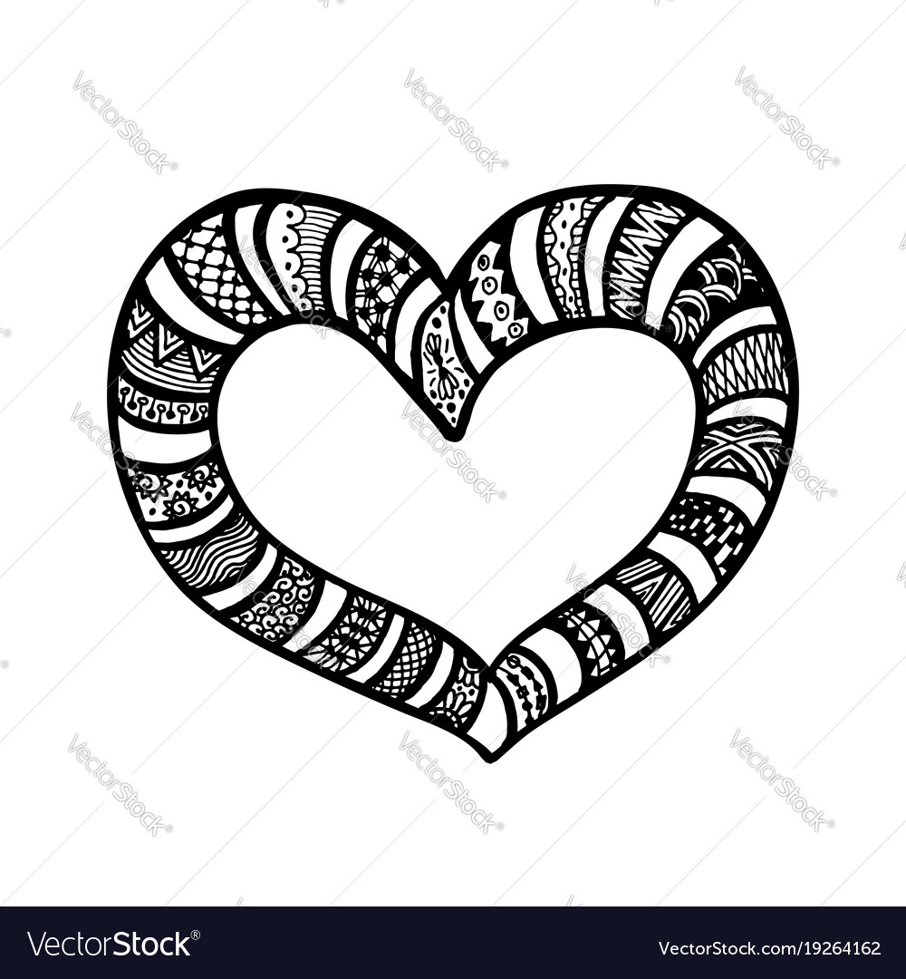 Doodle hand drawn hearts coloring page book Vector Image