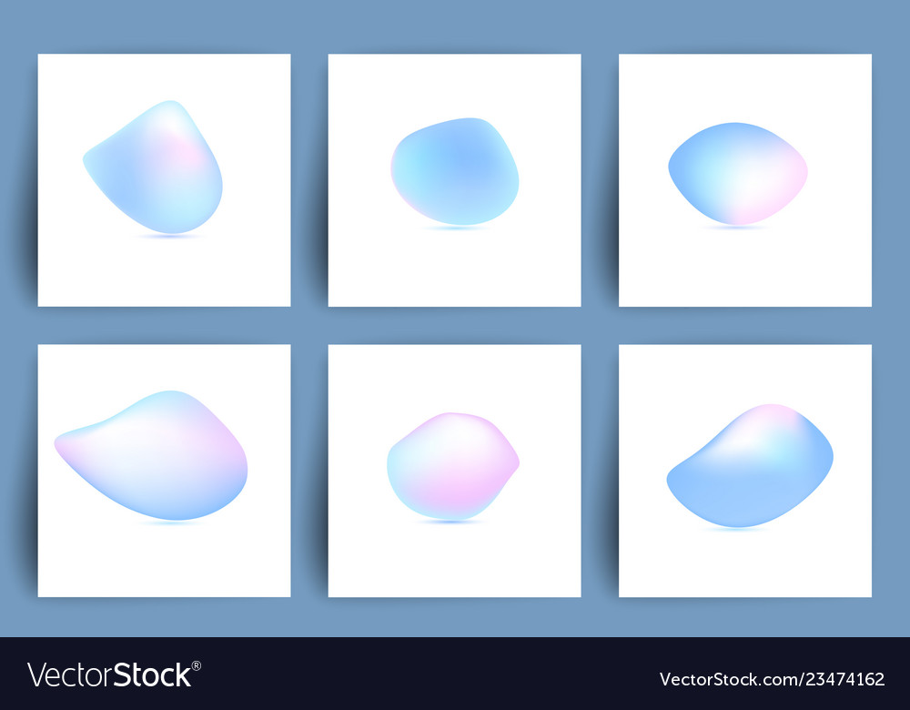 Fluid colorful shapes set of iridescent smooth