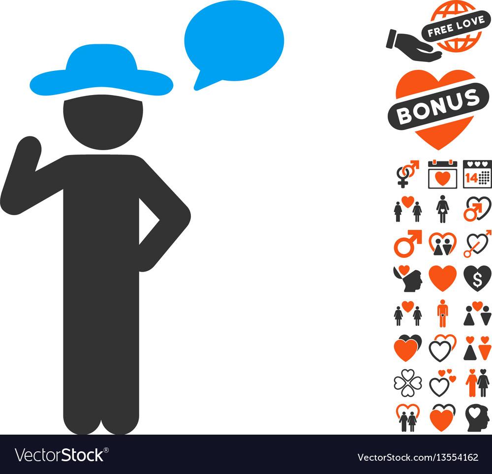 Gentleman speech icon with dating bonus vector image