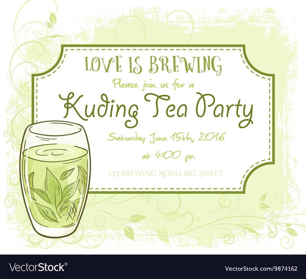Hand Drawn Kuding Tea Party Invitation Card Vector Image