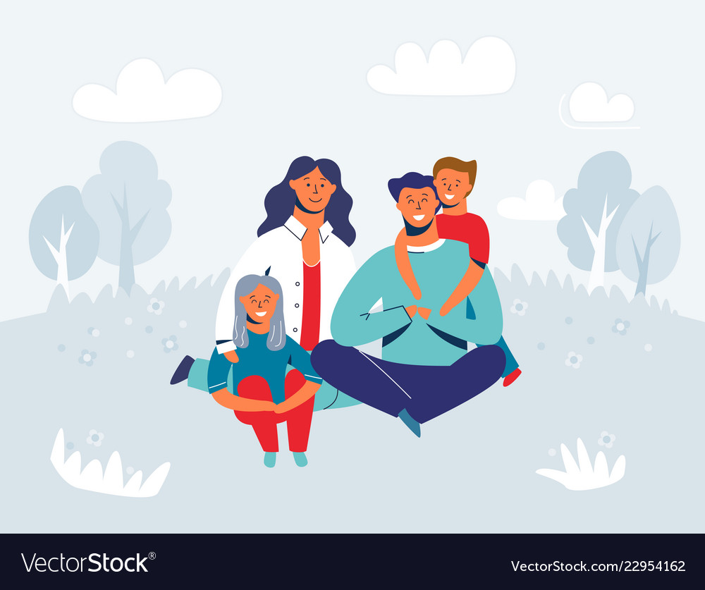 Happy family enjoying picnic characters