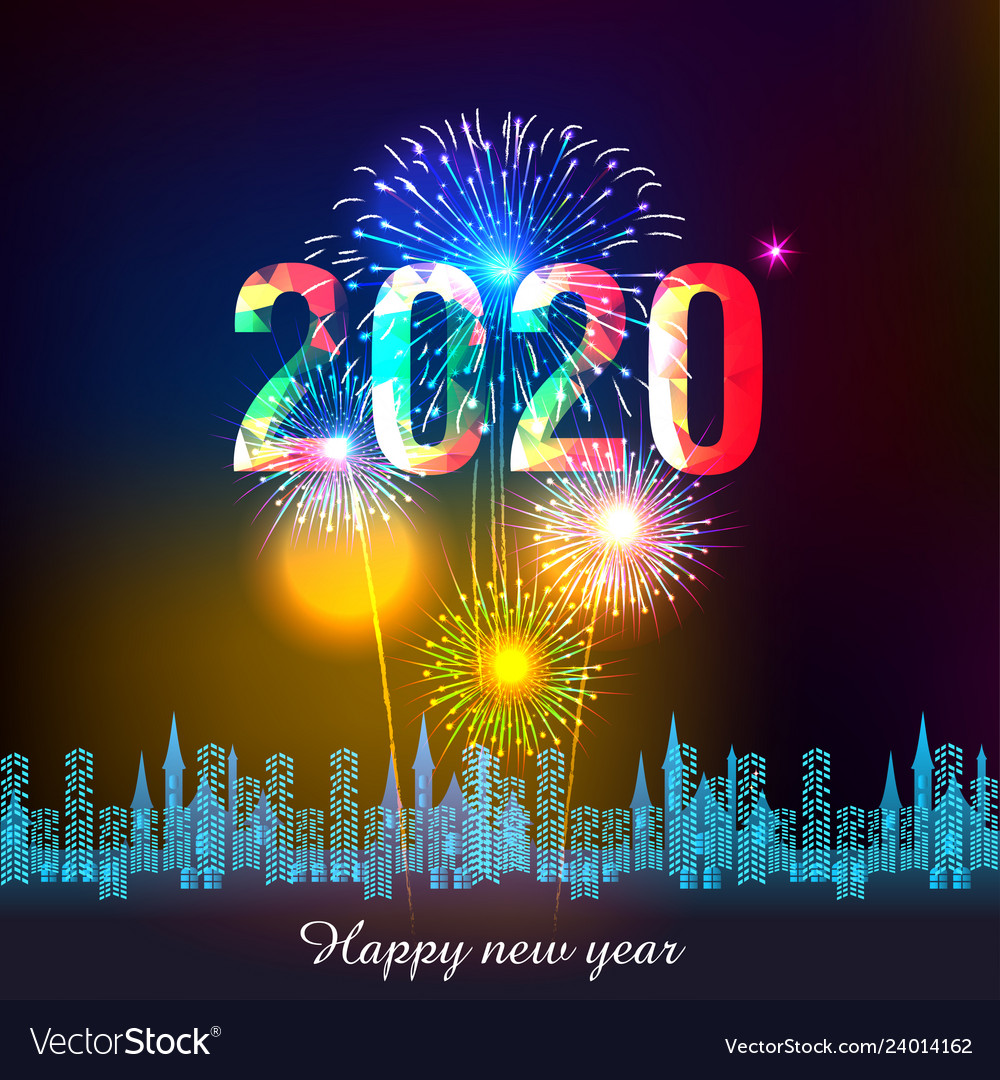 happy new year 2020 background with fireworks vector image vectorstock