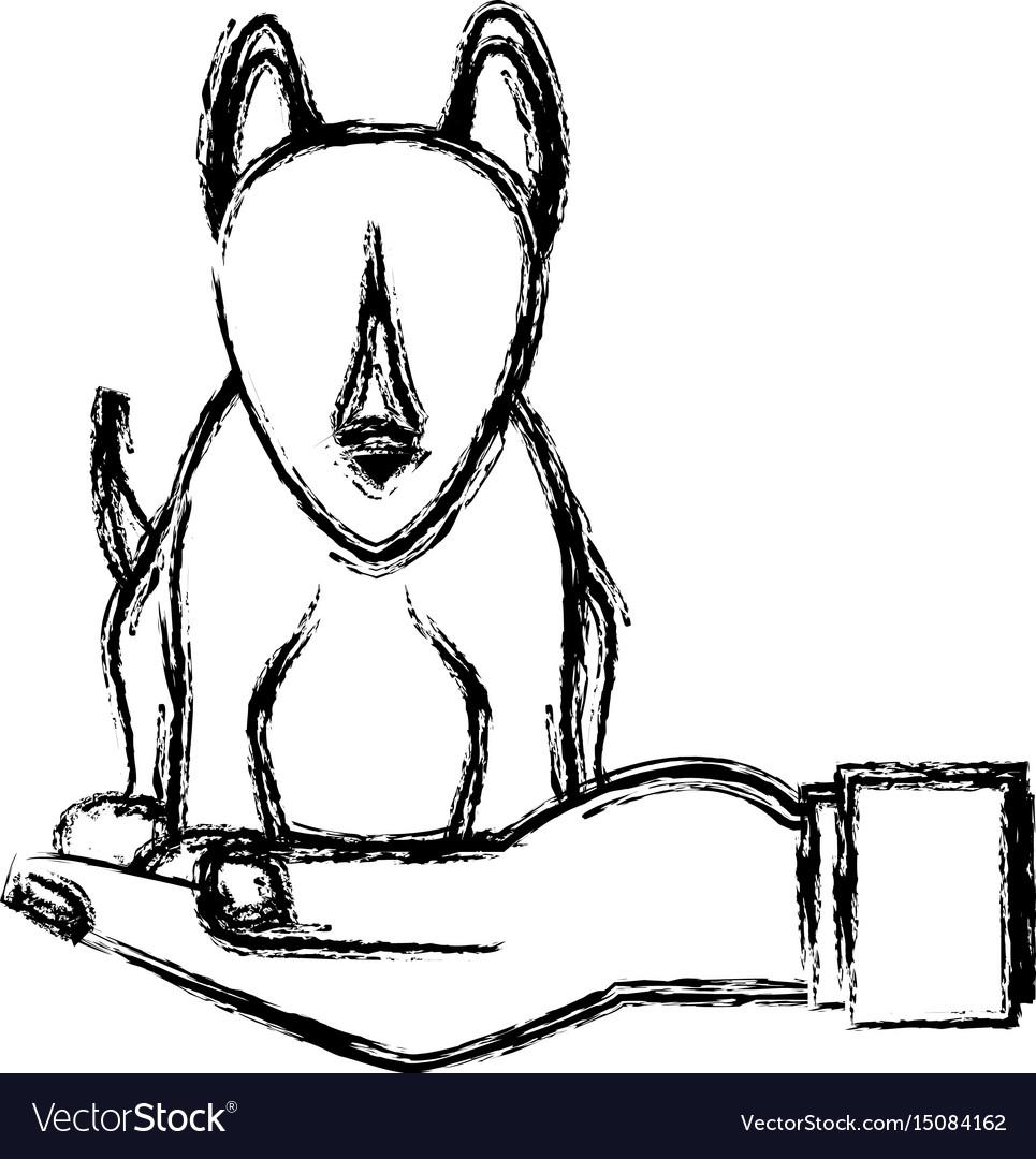 Human hand holding dog pet veterinary sketch