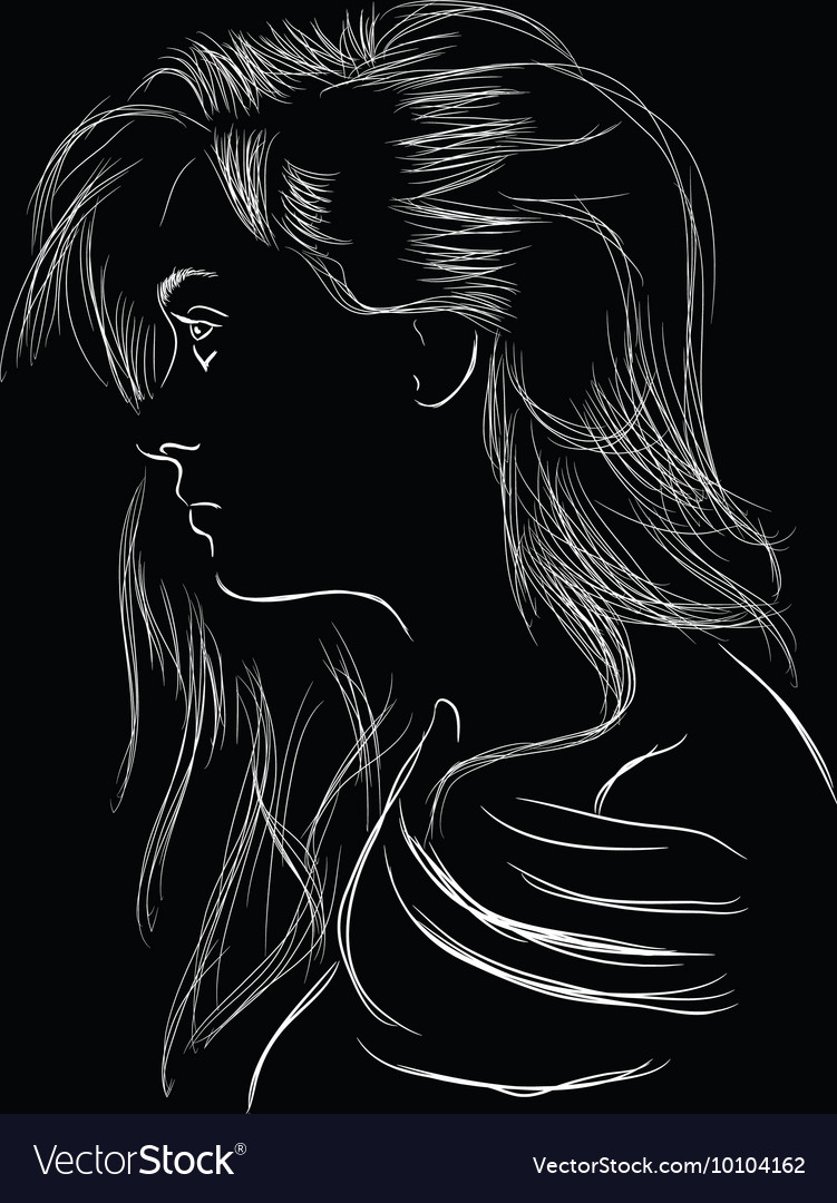 Line art sideview face girl vector image