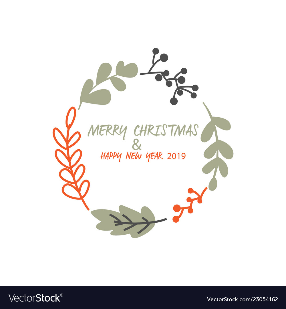 Merry christmas and happy new year logo