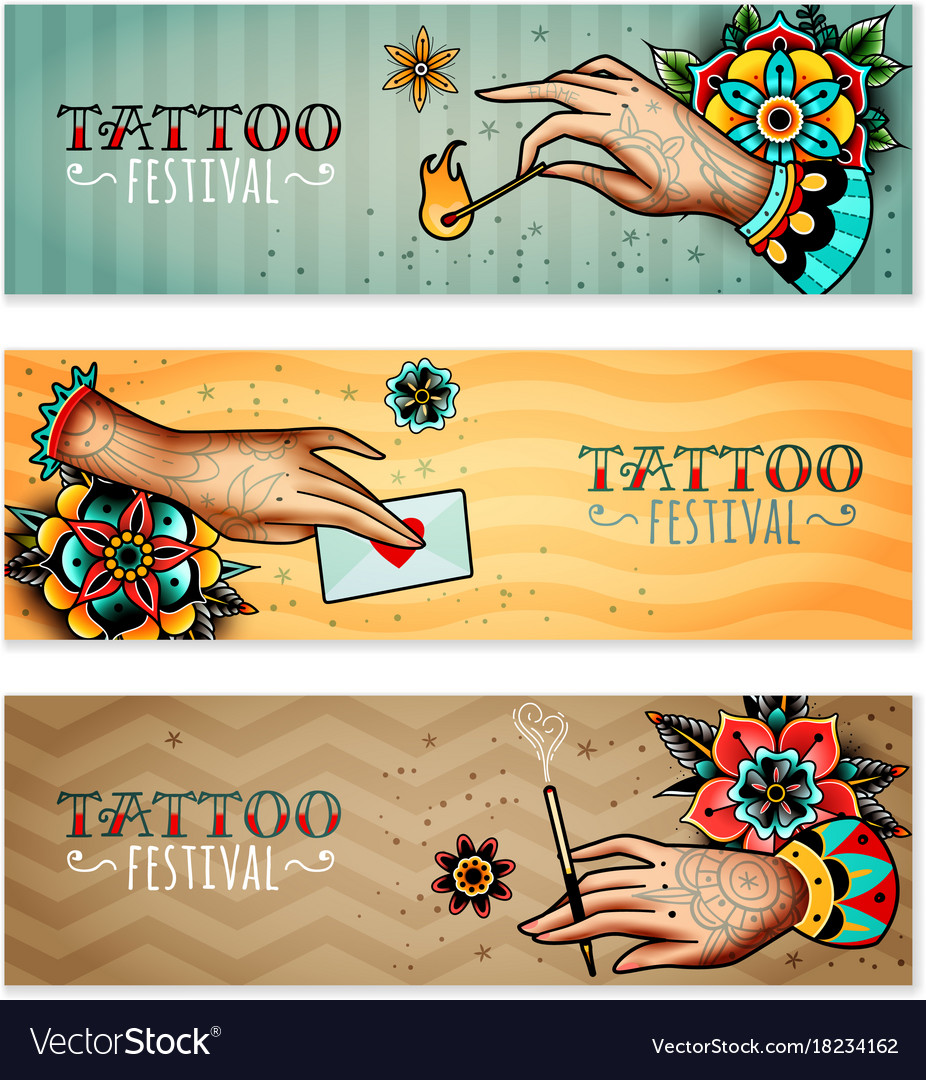 Oldschool tattoo hands horizontal banners