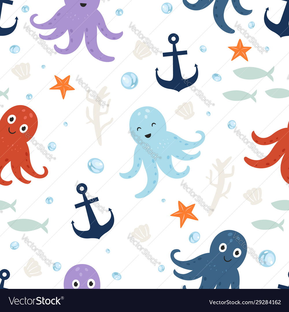 Seamless pattern cute octopus