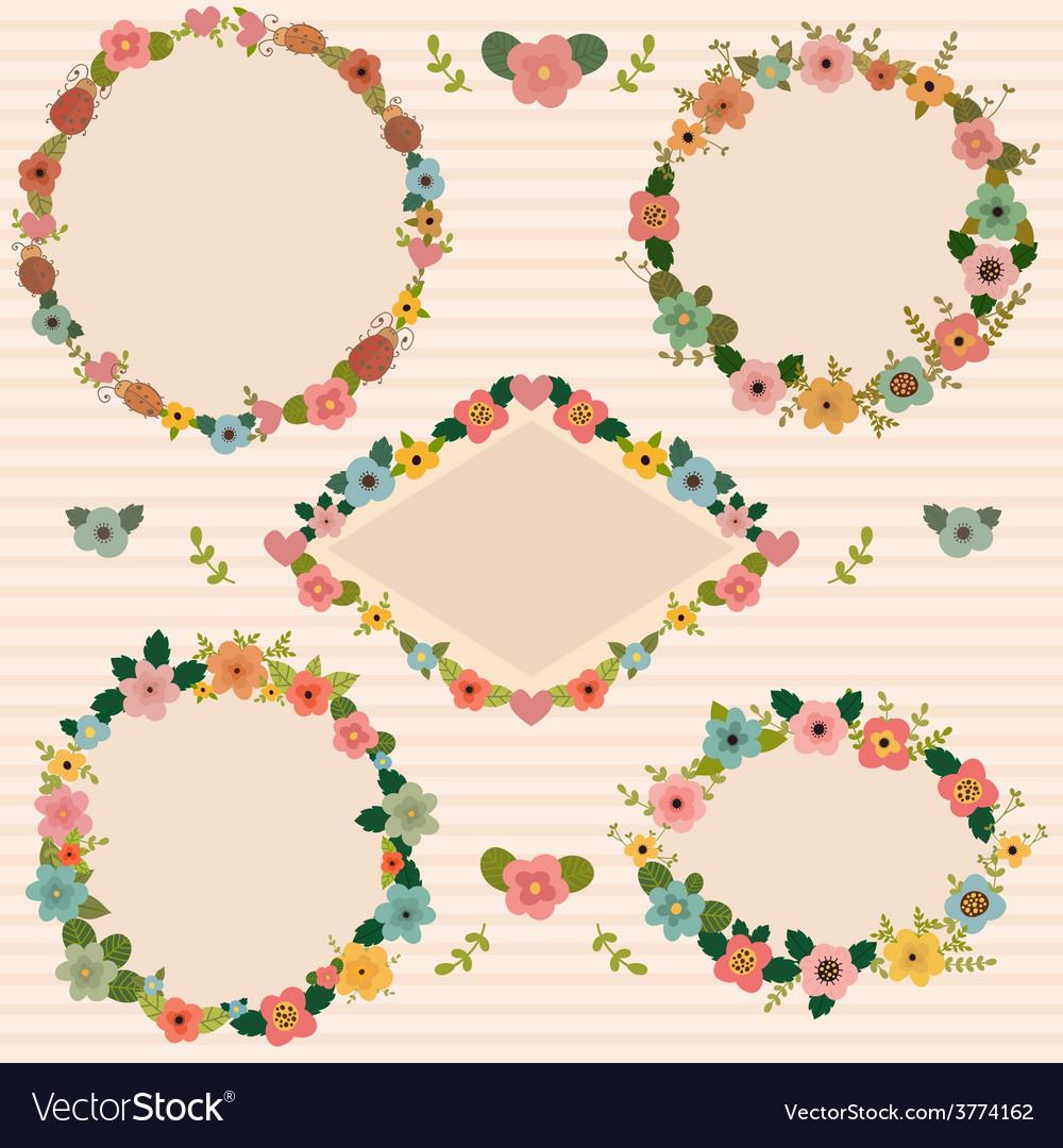 Set of floral romantic frames Floral frames Vector Image