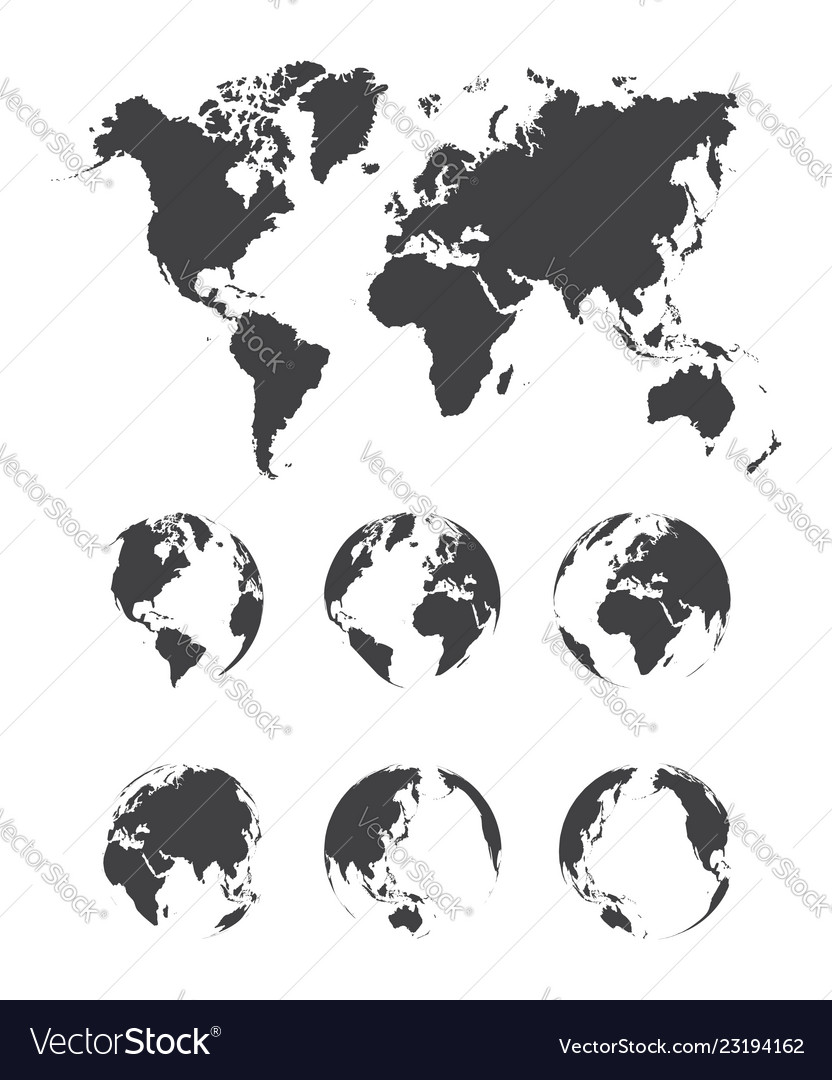 Set of world map