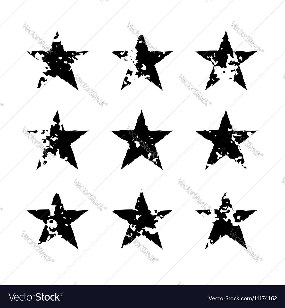 Star icons grunge texture set