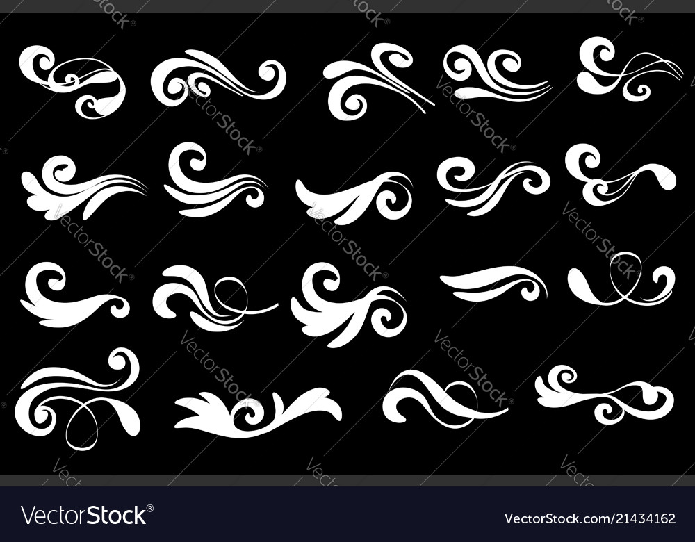 Swirly line curl patterns isolated on black