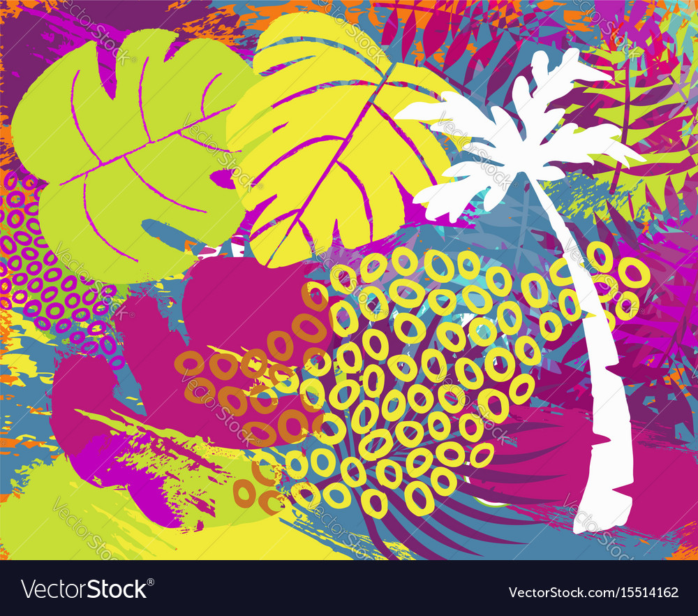 Tropical summer jungle plant leaf abstract art
