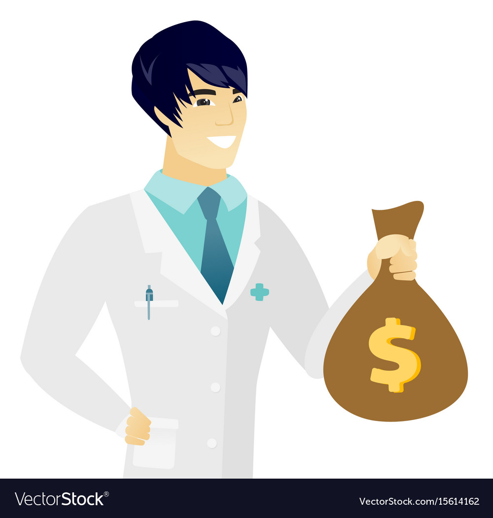 Young asian doctor holding a money bag