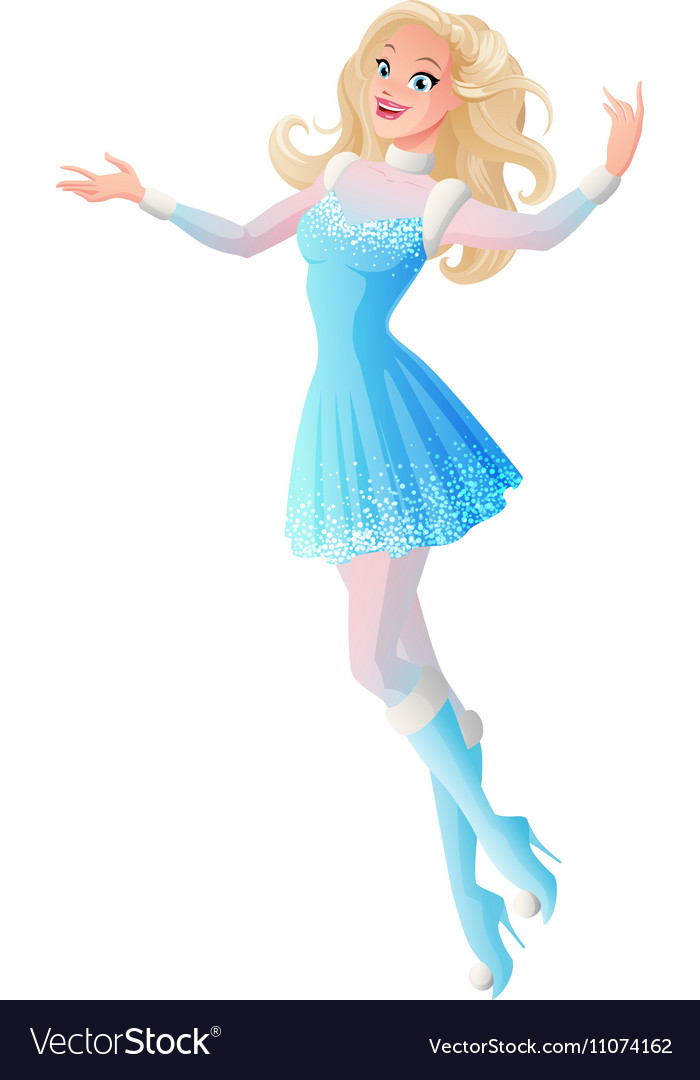 Young woman in blue winter fairy snow maiden vector image