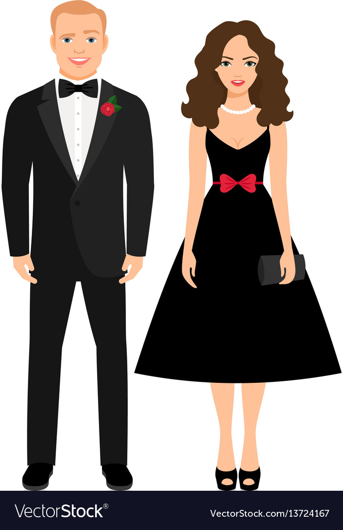 Beautiful couple in evening outfit
