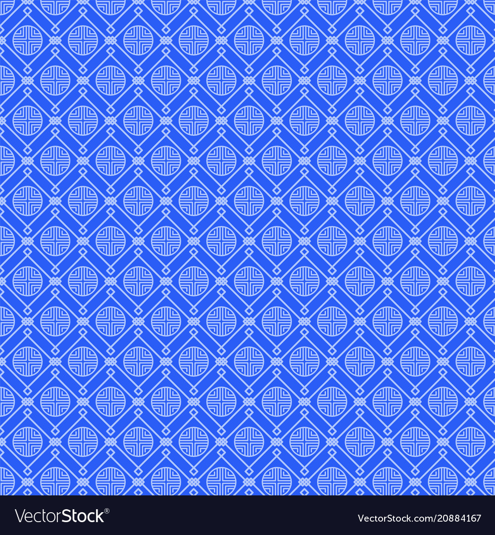 Blue pattern with set of various geometric figures