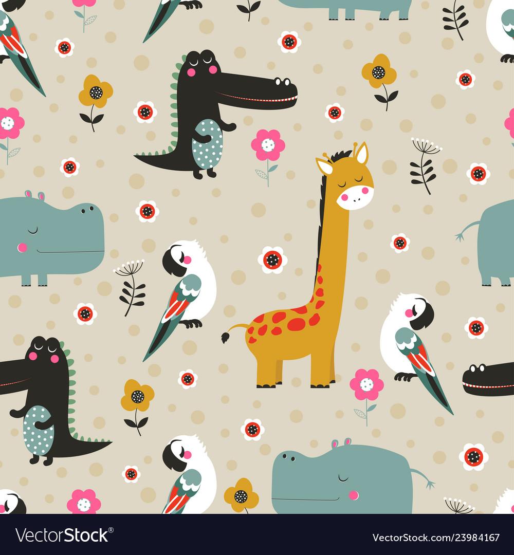 Cartoon tropical animal pattern