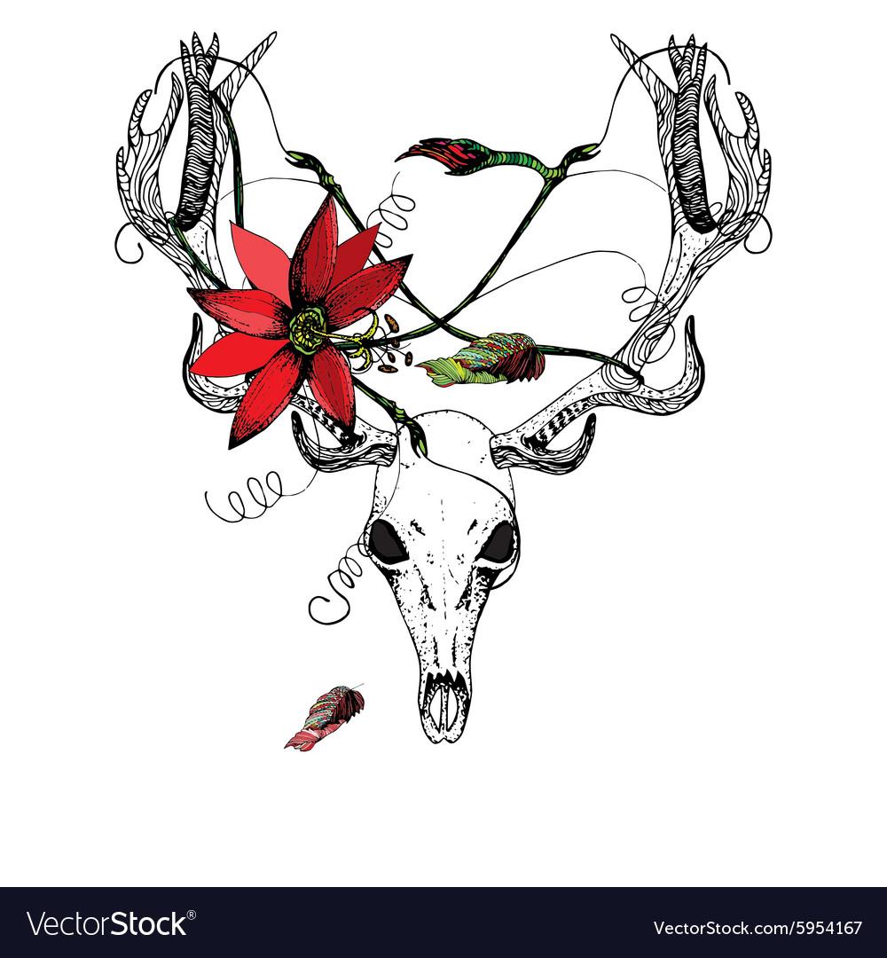 Deer Skull and passiflora