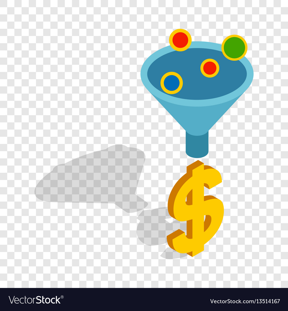 Sales funnel isometric icon vector image
