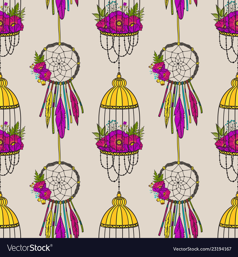 Seamless pattern with dream catcher and bird cage
