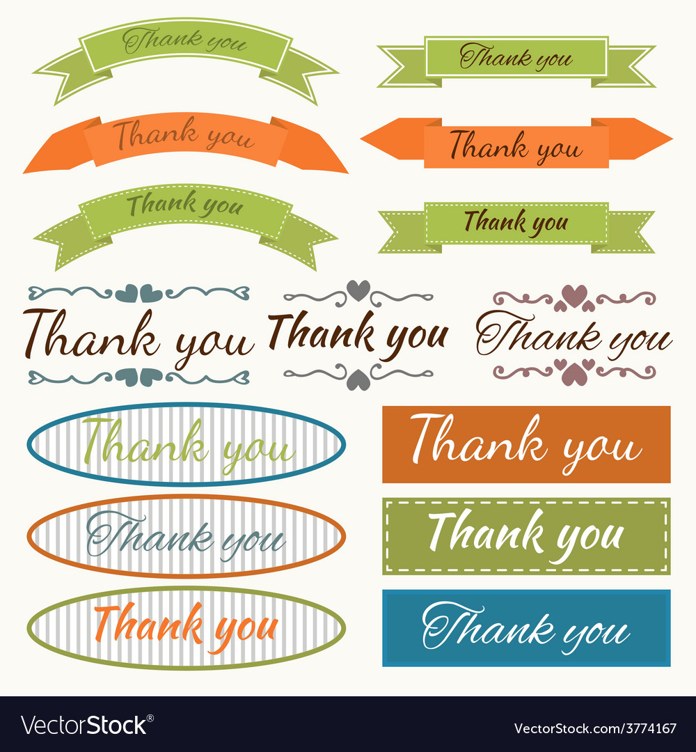 Set of Thank You stickers badges ribbons and tags vector image